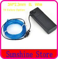 achat en gros de tubes néon gros-Expédition gros-gratuit, 3M * 2.3mm Neon Glow lumière flexible EL Fil Tube Rope Pour Option + Controller voitures / Dance / Parti 10colors