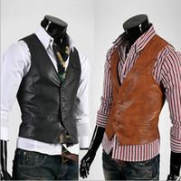 Wholesale New Stylish Slim Fit Mens Faux Leather Vests Jackets Coats Colors Size M L XL