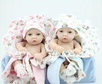 achat en gros de reborn baby-Vente en gros-Mini 11 pouces Full Vinyl Reborn Baby Doll Twins Doll nouveau-nés filles Boy Laver Doll Lifelike beau cadeau