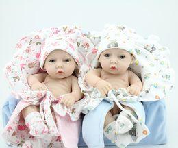 Wholesale-Mini 11 Inch Full Vinyl Reborn Baby Doll Twins Doll Newborn Girls Boy Washing Doll Lifelike Lovely Present