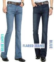 slim fit jeans - Winter mens jeans boot cut leg slightly flared slim fit famous brand blue black male jeans designer classic denim Jeans