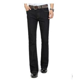 Wholesale- Winter mens jeans boot cut leg slightly flared slim fit famous brand blue black male jeans designer classic denim Jeans