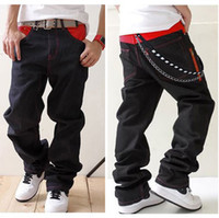 rocking skateboard - Mens hip hop jeans loose size With chain HIGHT QUALITY rock baggy jeans fashion designer Skateboard
