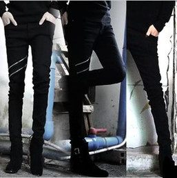 Wholesale-new autumn male black zipper male jeans slim skinny pants men long trousers