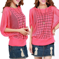 Cheap Wholesale-Hot 12color Korean Women Ladies Casual Loose Blouse Hollow Out Short Batwing Sweater Knitted Jumper Knitwear Sweater Tops W00087