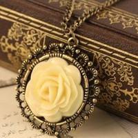 Cheap Wholesale-# N158 Elegant Vintage Cream Rose Disk Pierced Lace Necklace wholesale AB