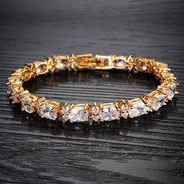 Wholesale Cubic Zirconia Tennis Bracelet Wholesale - 2016Maikun JEWELRY Classic 18K Gold Plated Full Crystal Tennis Bracelets Top Grade Women Wedding Jewelry free shipping