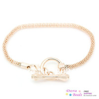 Wholesale European Charm Bracelets Toggle Clasp Snake Chain Lobster Clasp Rose Gold cm quot B32049