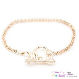 2017 broches para los encantos Brazaletes de encanto europeos Toggle Clasp cadena de la serpiente corchete de langosta de oro rosa 18,2 cm (7 1/8