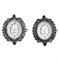 Wholesale 2 Antique Silver Oval Quartz Watches Faces Battery Included x26mm Findings