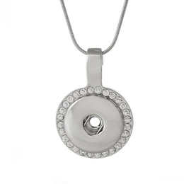 Snap Jewelry Necklace Snake Chain Round Silver Tone Clear Rhinestone Fit Snap Buttons 47.3cm,Charm Hole:6.0mm,1 PC
