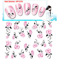 rose water - sheets Romantic Pink Rose Flowers Style ECO friendly Tasteless Water Transfer Nail Art Sticker Decals