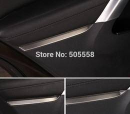 Wholesale-FOR 2010-2015 VW TIGUAN DOOR INTERIOR HANDLE SIDE TRIM COVER STICKER STAINLESS STEEL BEZEL AUTO ACCESSORIES