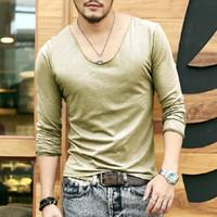 bamboo brand t shirt - Plus Size Deep V Neck T Shirt Men Long Sleeve T Shirts Gym Fitness T Shirt New Brand Outdoor Solid Undershirt