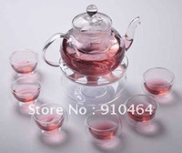 tea cup candles - Glass Teapot with Filter ml Double wall glass coffe tea Cup Warmer small Candle Glass heat insulation pad
