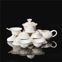bone china tea cup - Chinese Tea God Luyu Painting Kungfu Tea Set For Tea Ceremony Ceramic Gaiwan Porcelain Bone China Tea Cups New Design