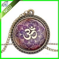 om pendant - New Lotus Om Yoga Jewelry India Necklace Om Symbol Buddhism Zen Meditation Mandala Art Pendant glass dome Pendant Necklace