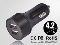 ppc - black Mini A Round Dual USB car charger for mobile phone for PDA for PPC freeshipping