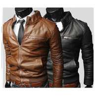 Cheap Wholesale-2015 Sale free Shipping New Men's Suit Pu Leather Jacket Man Products Mens