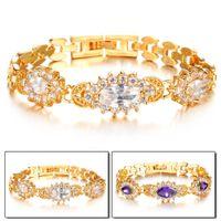 Wholesale Maikun JEWELRY Vintage K Gold Plated Purple White Zircon Wedding Bracelet Bangle inlaid Crystal Charm Women Accessory