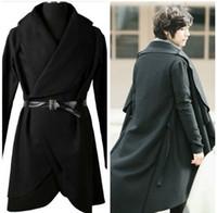 Cheap Wholesale-2015 Rare New Men's Fashion Lapel PU Leather Belt Design Casual Stylish Cape Black Long Trench Coat Autumn Winter Free