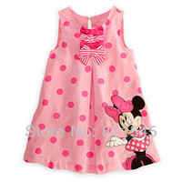 Cheap Wholesale-Pink Polka Dots Casual Kids Girl Dresses Baby Outfits Vestido Infantil Cute Toddler Girl Clothes Bebe Clothing Children's Wear