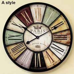 Wholesale-Home decor Large wall clock 60cm u0026 34cm antique style mute iron  crafts vintage old wall watch with roman number large iron wall clocks for  sale