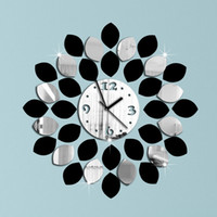 Wholesale big leaf black and silver wall clock modern design luxury mirror wall clock d crystal mirror wall clocks