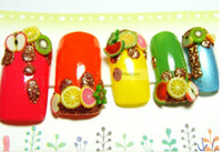 Cheap Wholesale-50pcs fimo canes polymer clay 3d nail art Stickers fruit flower cutted rolls stamp decal tip cute printer DIY free shipping