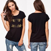 Cheap Wholesale-New 2015 Summer Fashion Plus Size T Shirt Womens Cute Tops Animal Cartoon Batman Tshirt Couple T-shirts Female Brand Style Tees