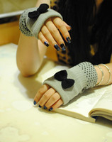 Wholesale Lady Women Soft Knitted Wool Winter Warm Gloves Fingerless Tie Mittens GL012
