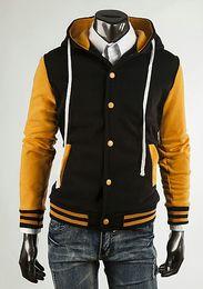 Promotion coton ouaté korean veste de baseball Gros-Men 2 016 New Designer Fashion College coréenne Sweat à capuche Hoodies Letterman Varsity Fleece Baseball Jacket FÉMININ