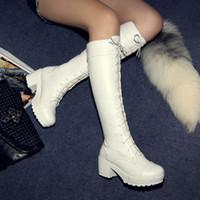Lacets blancs gros Avis-taille gros-Big 34-43 de haute qualité vente chaude 2015 nouvelles femmes de la mode casual en cuir PU lacets blancs talons hauts couleur genou bottes hautes