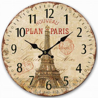 Wholesale Tower Paris Green wood modern design rustic wall clock home decor Classical wall clocks