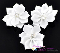 Wholesale White Ribbon Rhinestone Flowers Wedding Scrapbooking B10251