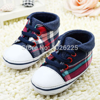 Wholesale Baby Crib Shoes Boys Plaid Sneaker Girl Lace UP Soft Sole Prewalker Shoes Freeshipping