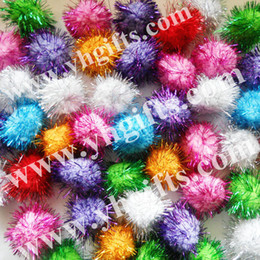 Wholesale-300PCS LOT.4.5cm Glitter pompom,Multicolor pom-pom,Craft material,Christmas ornament,Hat decoration,Freeshipping,Wholesale