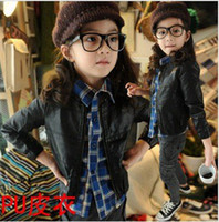 Cheap Wholesale-Free shipping !! Autumn winter children's clothing girls PU leather Casual leather jacket coat Machine wagon jacket