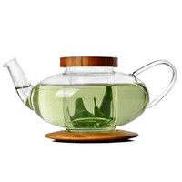 bamboo teapot - Clear Glass Lamp Shaped Heat Resistant Teapot with Bamboo Lid Tea Pot Drinking Pots