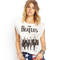 Cheap Wholesale-2015 Summer New Fashion Women Casual Letters Printed the Beatles Punk Cotton T-shirt Shirt Tee Tops for Women Clothing Plus Size