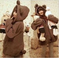 bear ears clothing - winter clothes plush bear ears hooded cardigan sweater coat blusas de moleton femininas bear ear sweater