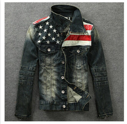 Wholesale-2015 men's denim jackets Outerwear American flag male do old blue motorcycle jeans jacket coat man fashion slim jeans denim
