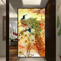 Wholesale Diamond painting Full Lily Peacock vertical version Diamond embroidered decorative painting the living room