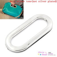 Wholesale Purse Handbags Insertion Component Metal Oval Handle Silver Tone x5 cm B25286 seasons