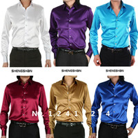 Cheap Wholesale-2015 new fashion Mens Slim fit High quality silk Long Sleeve tuxedo Shirts Mens dress Shirts with cufflinks 21 colors, S - XXXL