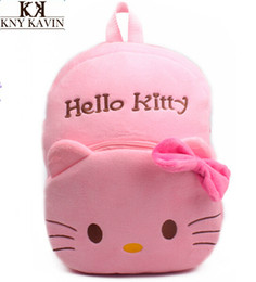 Bow Hello Kitty Cat Plush Toys Cartoon Bag Backpack Children School Bags For Kids Pink Backpacks kids 3-5Years Old Baby Bagstoycity