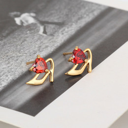 Wholesale 2014 New Arrival k Gold Plated Cute High Heeled Shoes Shaped Stud Earring for Women E shine Jewelry