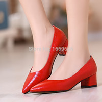 women shoes medium heel - women s shoes Formal shoes shallow mouth thick heel genuine leather shoes cow muscle outsole medium hells shoes shipping