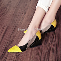 Wholesale women s shoes New arrival hot selling fashion pointed toe wedges spring and autumn horsehair genuine leather