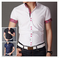 shirts for men italian - Italian designer button down Slim fit short Sleeve Prints shirt for men Hombres de camisa QR